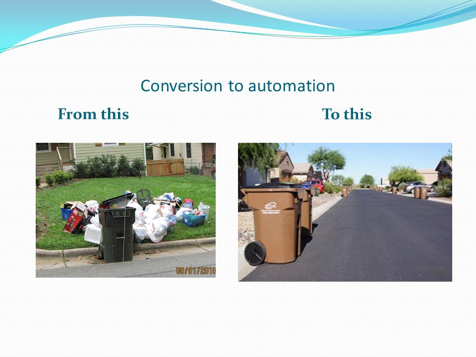 Common concerns Ugly large cans difficult to maneuver, particularly elderly and disabled Actual practice has not borne this out in benchmarked communities, regardless best practice will be to offer smaller cans for the over 55 and disabled communities Not enough room for households refuse in single cart 96Gallon cans have proven to be more than adequate in all towns studied.