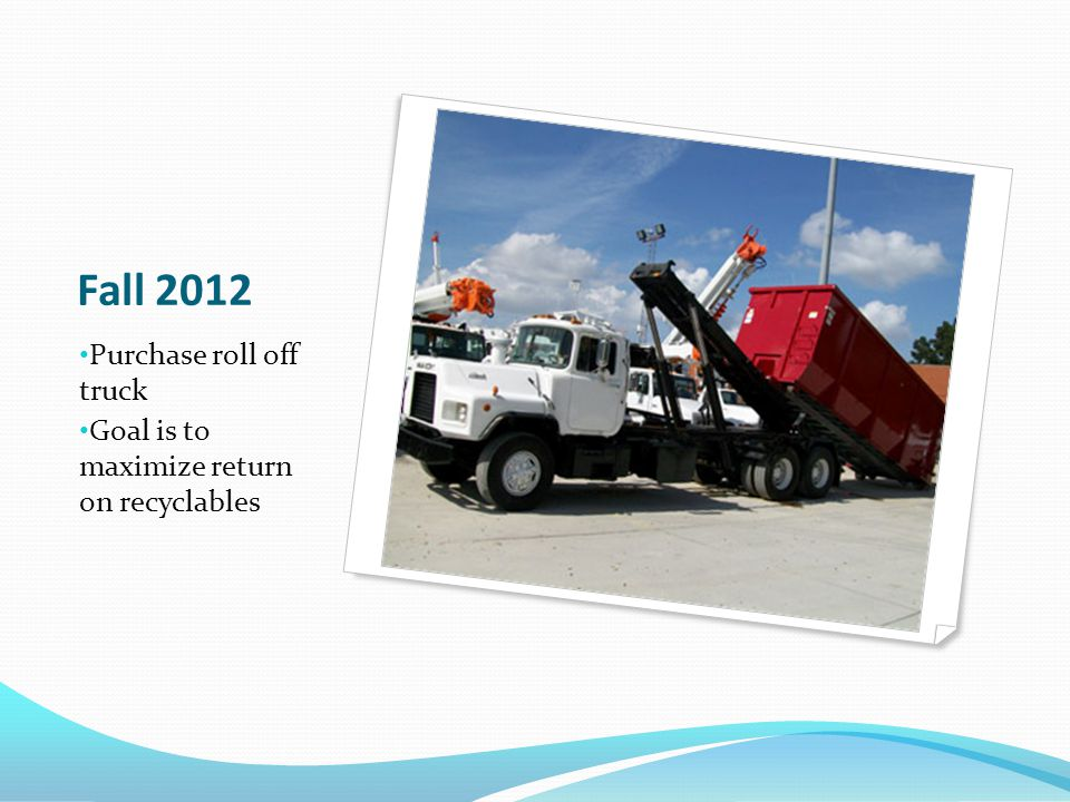 Winter 2013 Budget for 3 auto refuse trucks Budget for cans for distribution