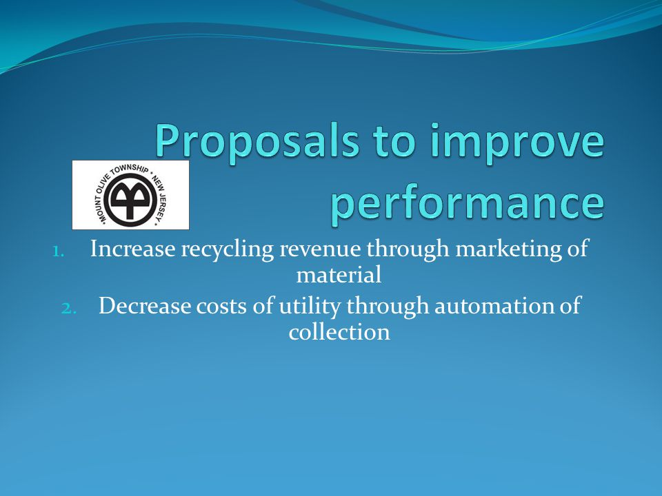 Marketing of material Current return 2011 from Morris MUA Gross return $ 38,224.81 Net return approximately $20,000.00 (MUA Charges for dumpster pulls) Solution Market material Estimated gross and net return Dumpster pickup (no charge for pull costs) = $86,544.48 Delivered by Mount Olive = $136,855.20