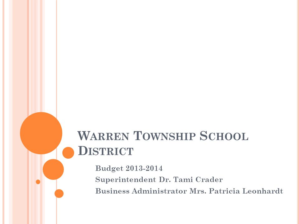 W ARREN T OWNSHIP S CHOOL D ISTRICT Budget 2013-2014 Superintendent Dr.