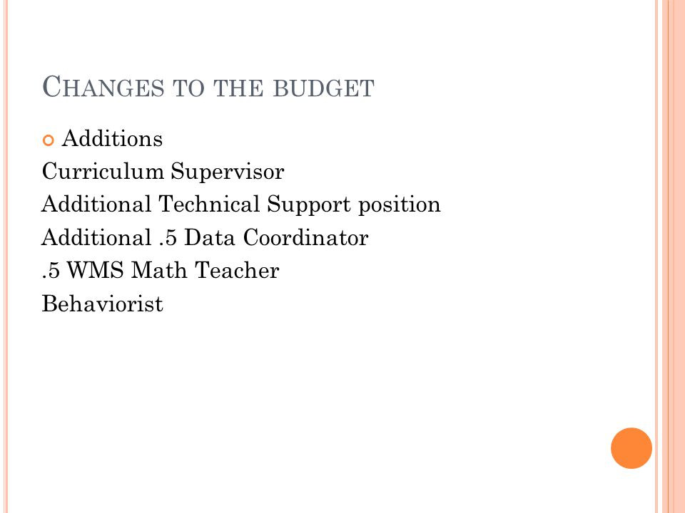 C HANGES TO THE BUDGET Additions Curriculum Supervisor Additional Technical Support position Additional.5 Data Coordinator.5 WMS Math Teacher Behaviorist