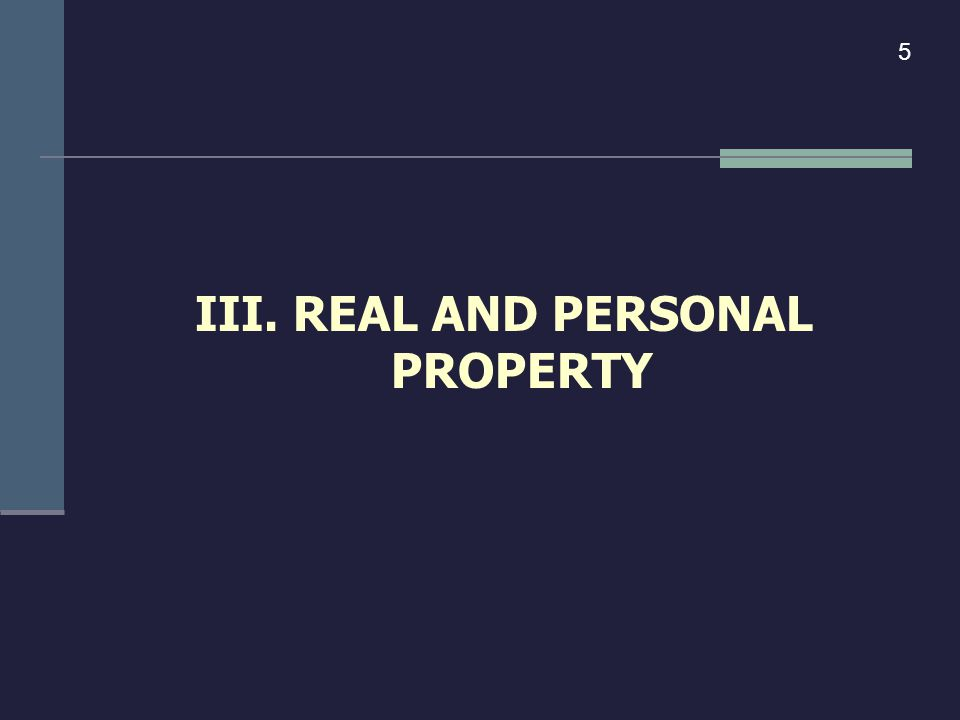 III. REAL AND PERSONAL PROPERTY 5