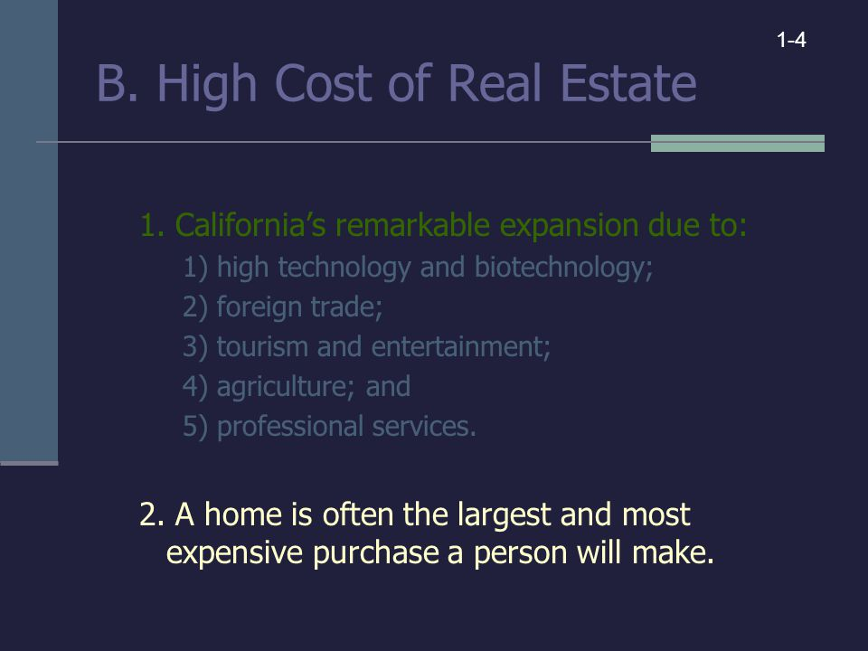 B. High Cost of Real Estate 1.