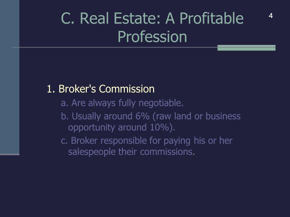 C. Real Estate: A Profitable Profession 1. Broker s Commission a.