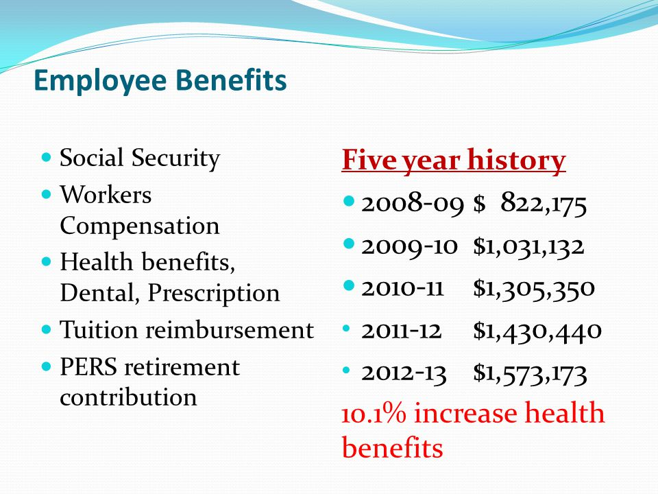 Employee Benefits Social Security Workers Compensation Health benefits, Dental, Prescription Tuition reimbursement PERS retirement contribution Five y