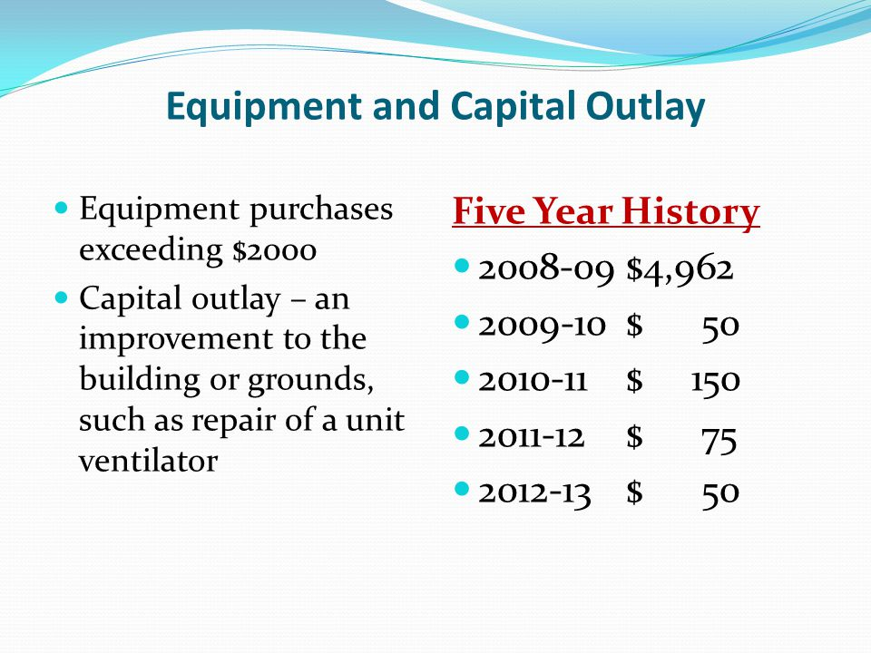 Equipment and Capital Outlay Equipment purchases exceeding $2000 Capital outlay – an improvement to the building or grounds, such as repair of a unit