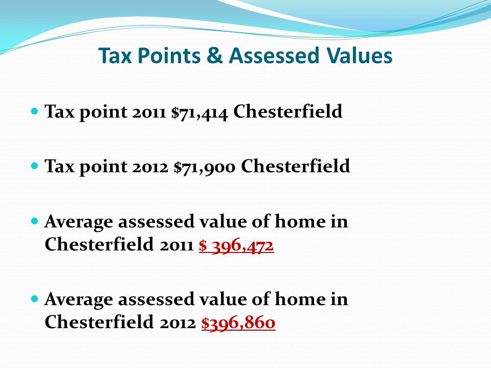 Tax Points & Assessed Values Tax point 2011 $71,414 Chesterfield Tax point 2012 $71,900 Chesterfield Average assessed value of home in Chesterfield 20