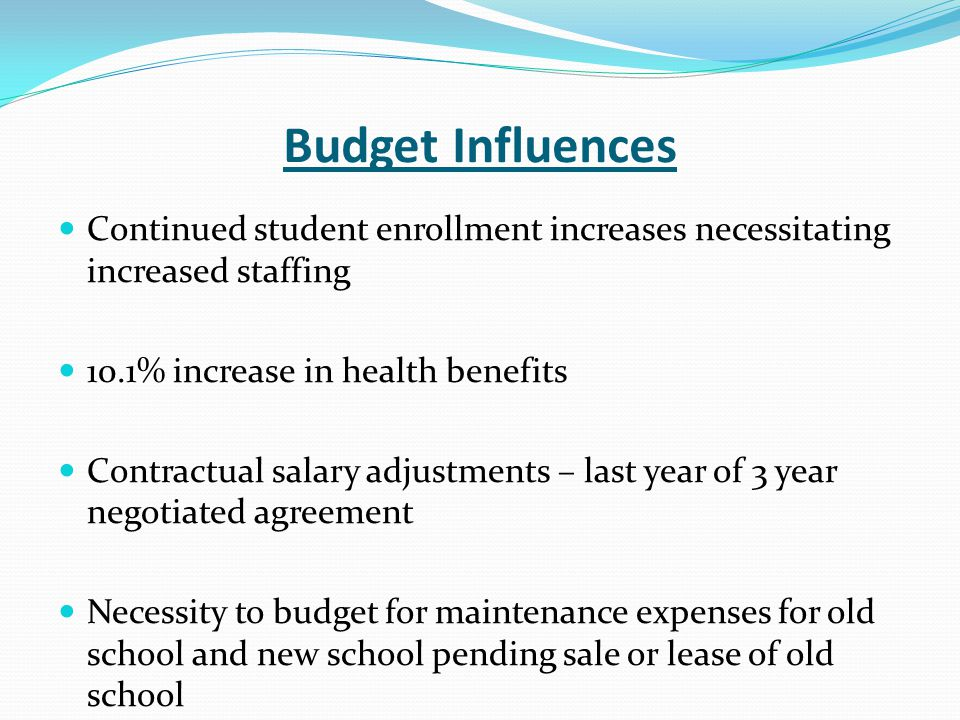 Budget Influences Continued student enrollment increases necessitating increased staffing 10.1% increase in health benefits Contractual salary adjustm