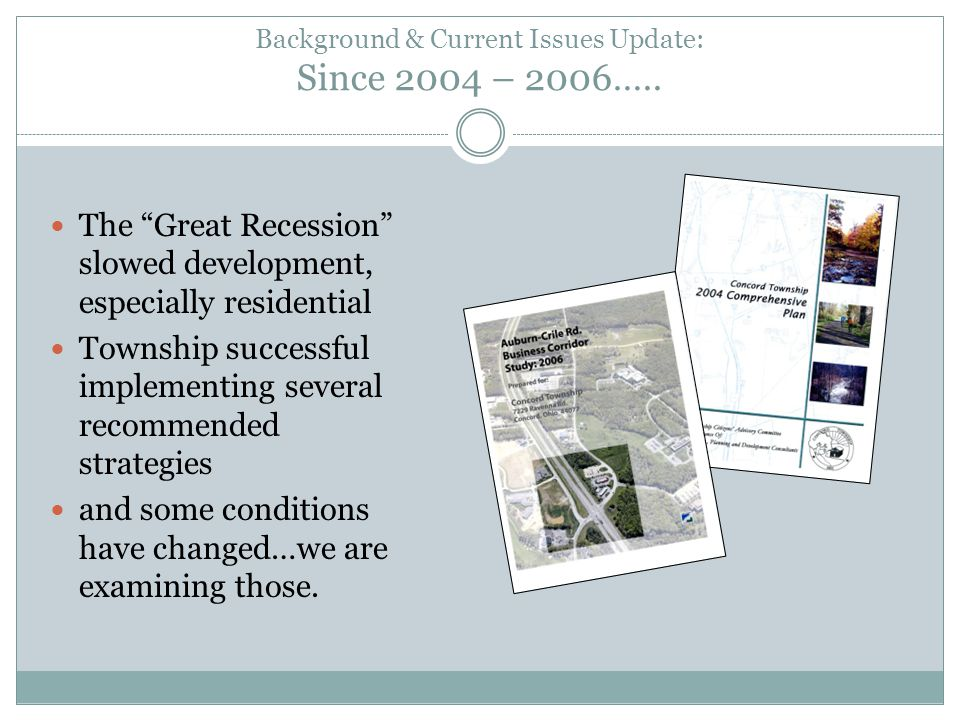 Background & Current Issues Update: Since 2004 – 2006…..