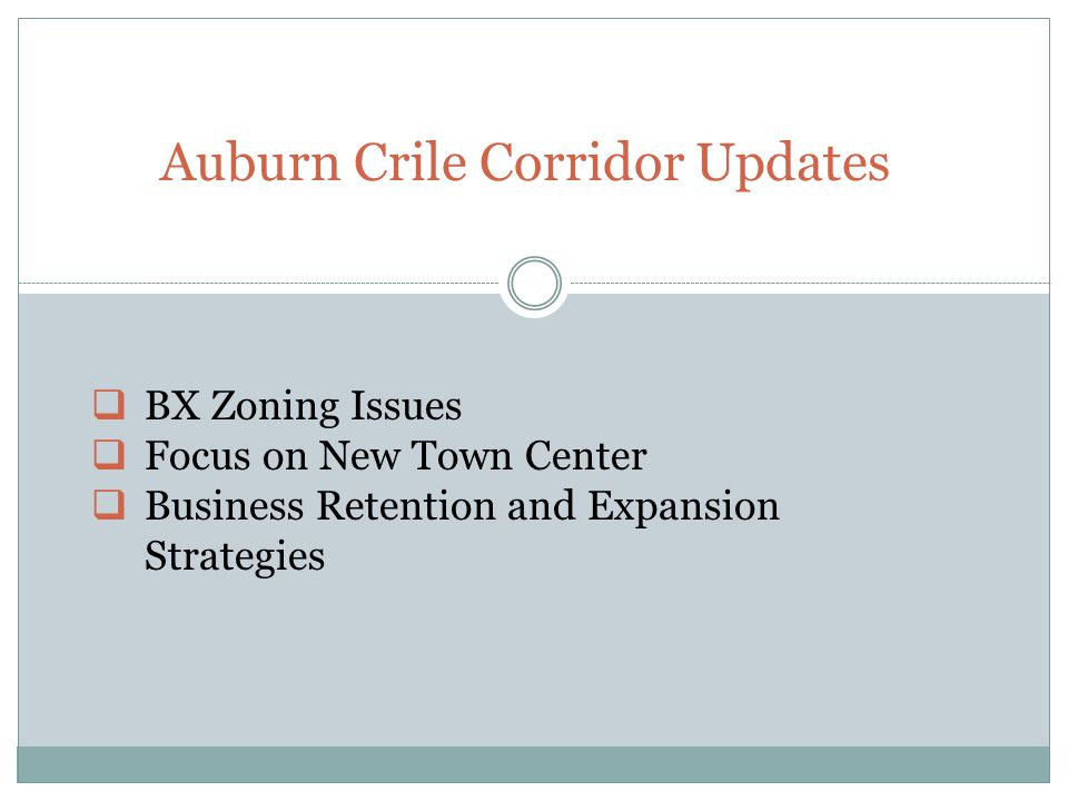 Auburn Crile Corridor Updates  BX Zoning Issues  Focus on New Town Center  Business Retention and Expansion Strategies