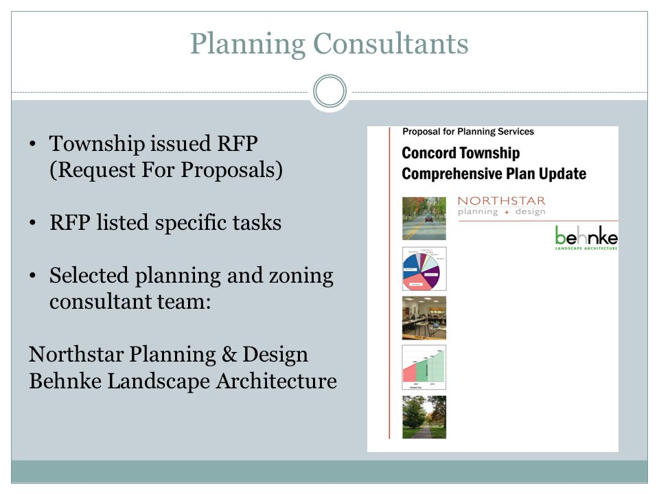 Planning Consultants Township issued RFP (Request For Proposals) RFP listed specific tasks Selected planning and zoning consultant team: Northstar Planning & Design Behnke Landscape Architecture