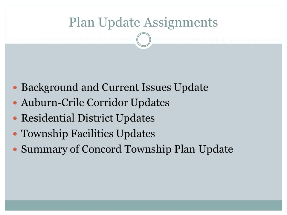Plan Update Assignments Background and Current Issues Update Auburn-Crile Corridor Updates Residential District Updates Township Facilities Updates Summary of Concord Township Plan Update