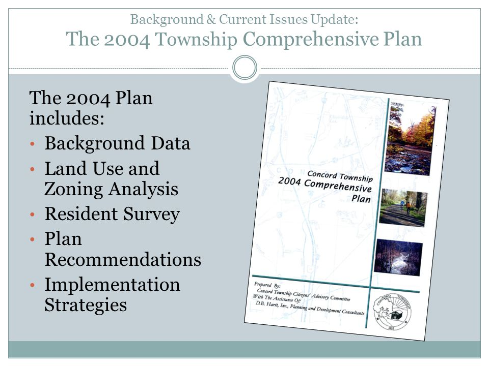 Background & Current Issues Update: The 2004 Township Comprehensive Plan The 2004 Plan includes: Background Data Land Use and Zoning Analysis Resident Survey Plan Recommendations Implementation Strategies
