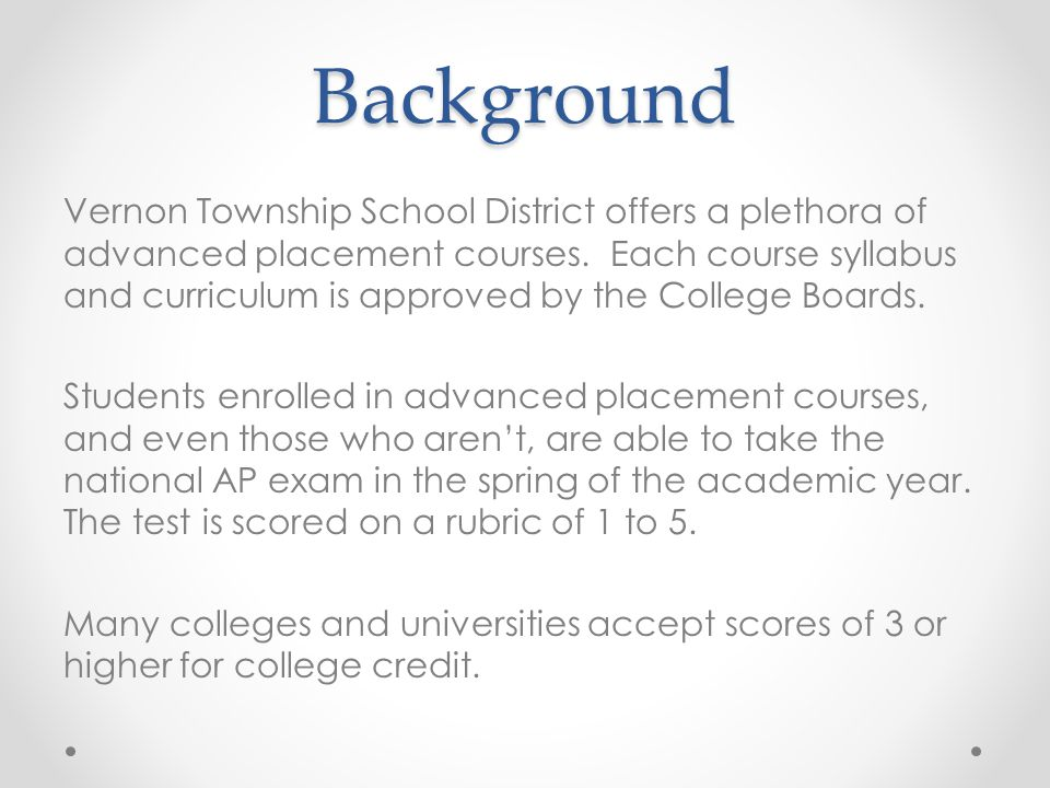 Background Vernon Township School District offers a plethora of advanced placement courses.