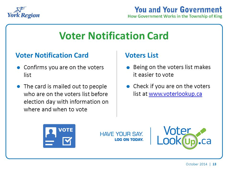 October 2014 | 13 Voter Notification Card Voters List Confirms you are on the voters list The card is mailed out to people who are on the voters list before election day with information on where and when to vote Being on the voters list makes it easier to vote Check if you are on the voters list at www.voterlookup.cawww.voterlookup.ca