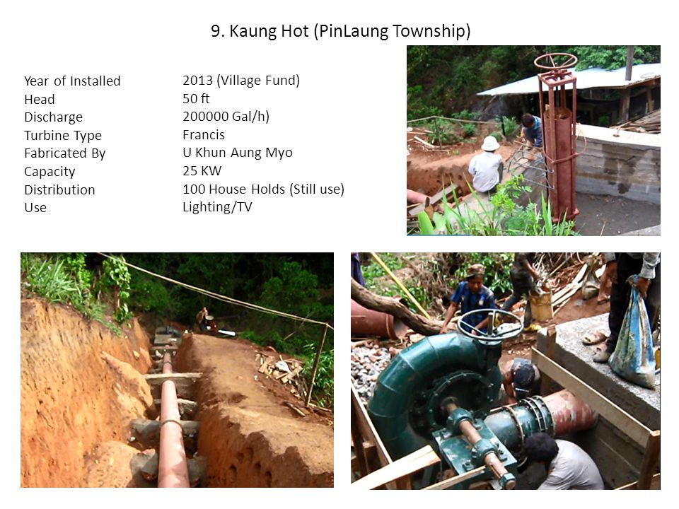 9. Kaung Hot (PinLaung Township) Year of Installed Head Discharge Turbine Type Fabricated By Capacity Distribution Use 2013 (Village Fund) 50 ft 20000