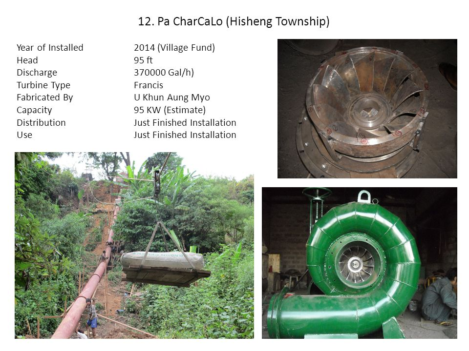 12. Pa CharCaLo (Hisheng Township) Year of Installed Head Discharge Turbine Type Fabricated By Capacity Distribution Use 2014 (Village Fund) 95 ft 370