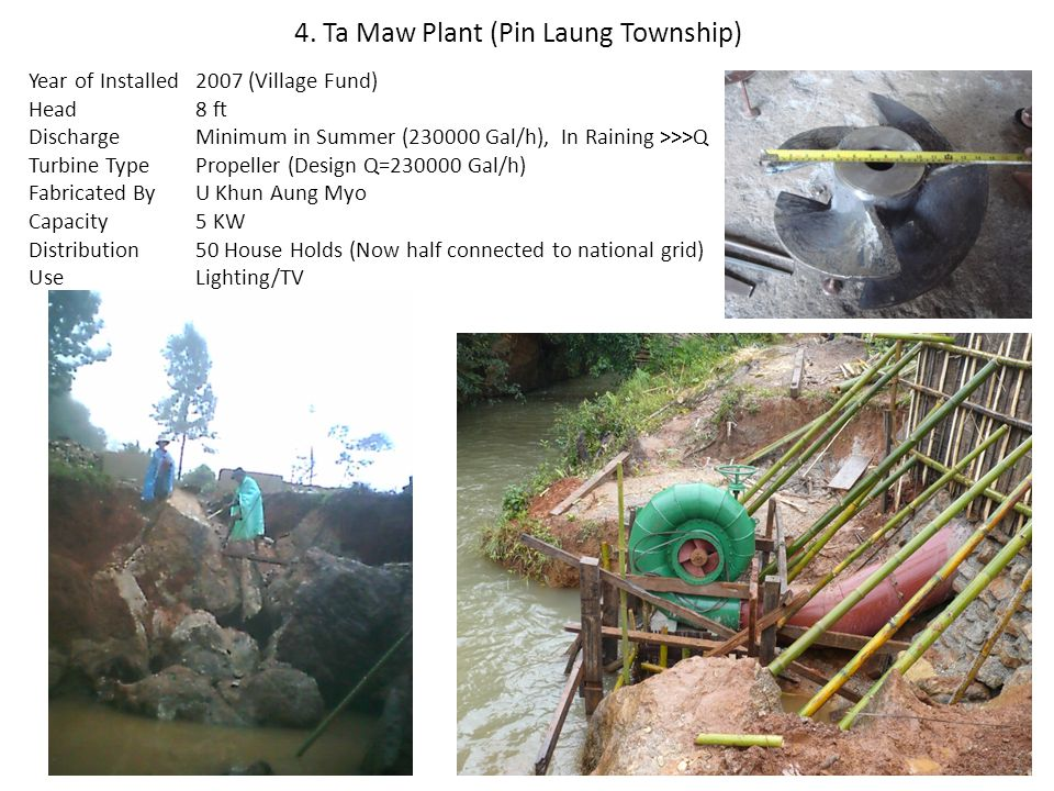 4. Ta Maw Plant (Pin Laung Township) Year of Installed Head Discharge Turbine Type Fabricated By Capacity Distribution Use 2007 (Village Fund) 8 ft Mi
