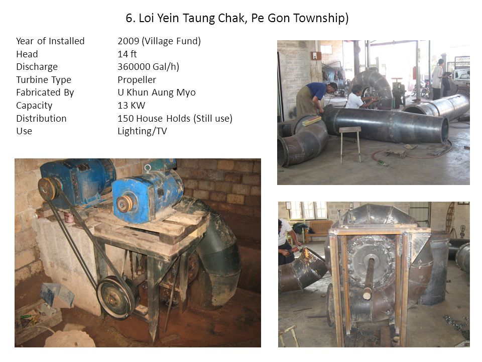 6. Loi Yein Taung Chak, Pe Gon Township) Year of Installed Head Discharge Turbine Type Fabricated By Capacity Distribution Use 2009 (Village Fund) 14