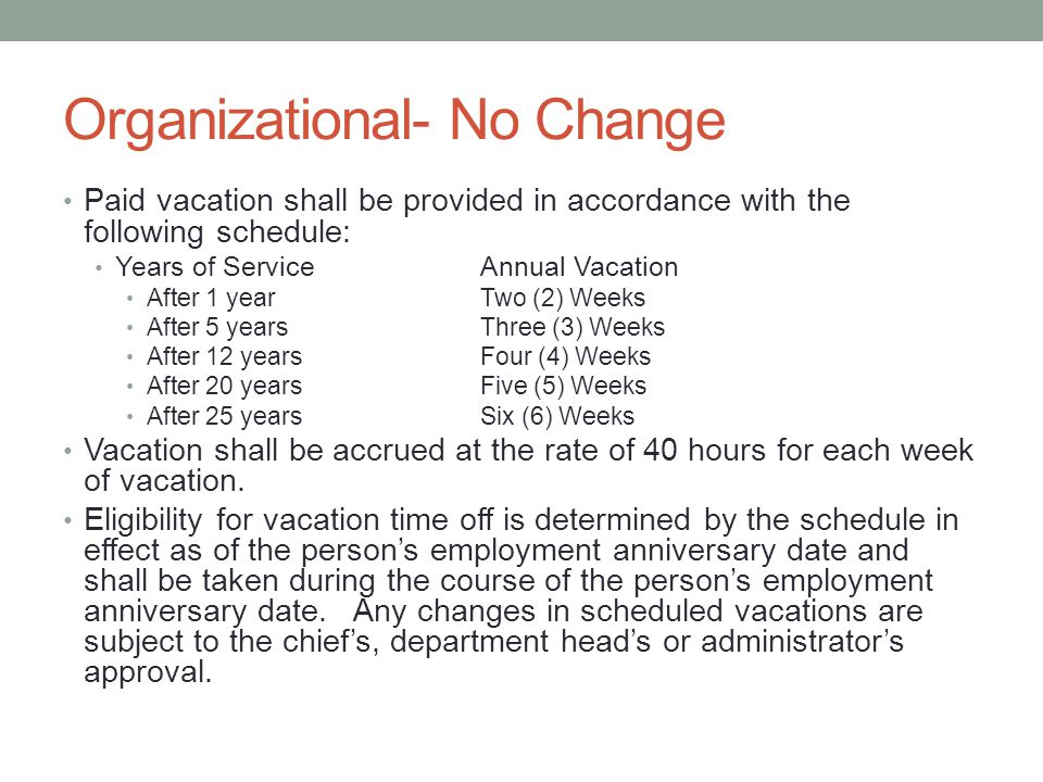 Organizational- No Change Paid vacation shall be provided in accordance with the following schedule: Years of ServiceAnnual Vacation After 1 yearTwo (2) Weeks After 5 yearsThree (3) Weeks After 12 yearsFour (4) Weeks After 20 yearsFive (5) Weeks After 25 yearsSix (6) Weeks Vacation shall be accrued at the rate of 40 hours for each week of vacation.