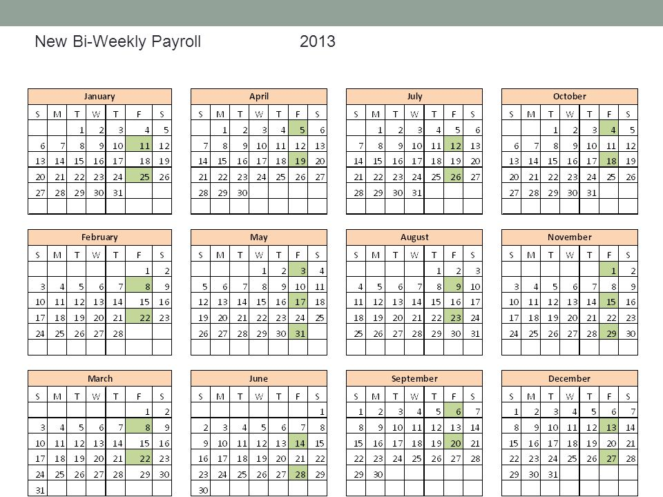 New Bi-Weekly Payroll 2013