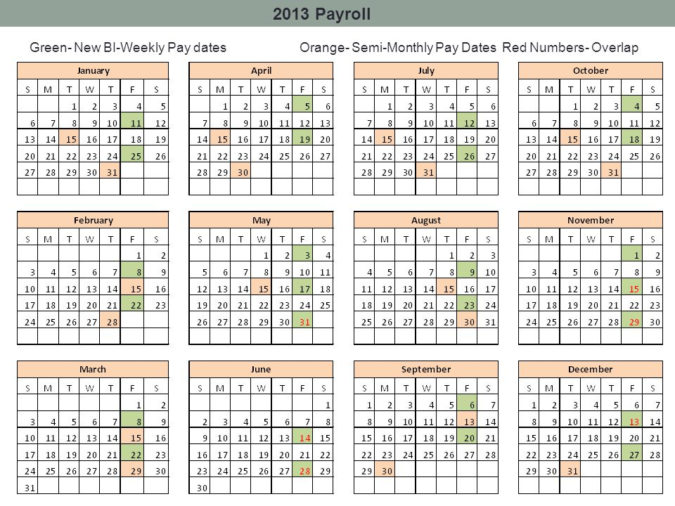 2013 Payroll Green- New BI-Weekly Pay dates Orange- Semi-Monthly Pay DatesRed Numbers- Overlap