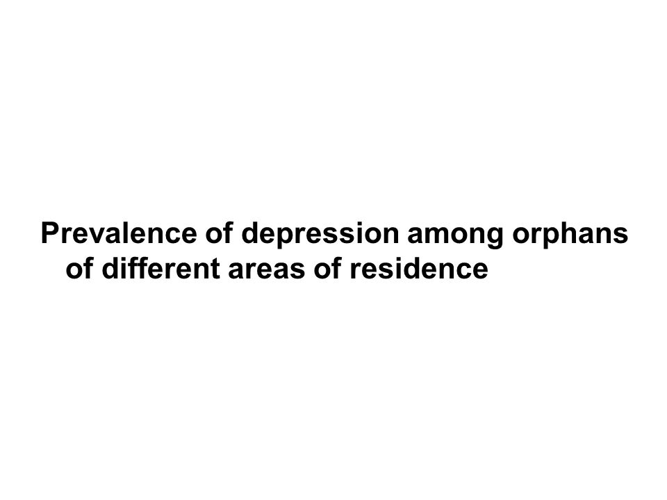 Prevalence of depression among orphans of different areas of residence