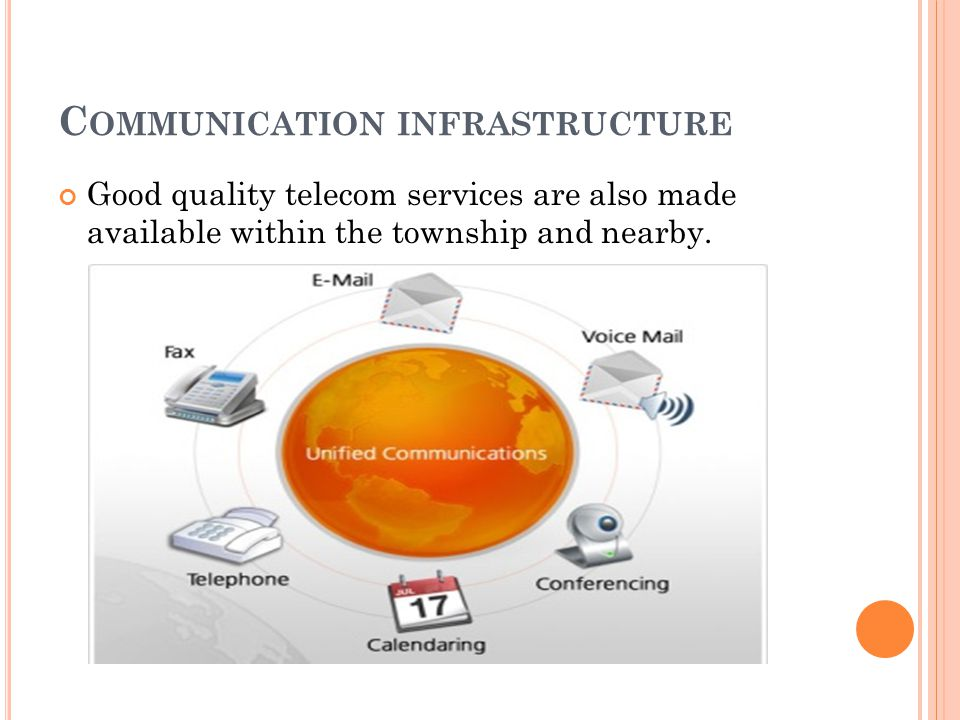 C OMMUNICATION INFRASTRUCTURE Good quality telecom services are also made available within the township and nearby.