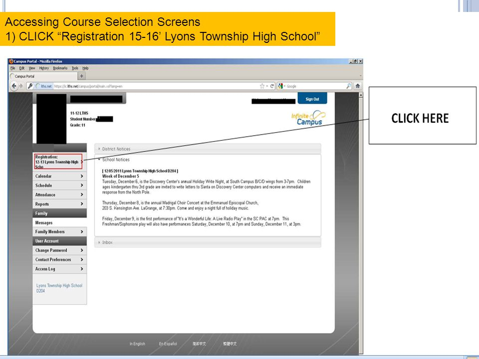 Accessing Course Selection Screens 1) CLICK Registration 15-16' Lyons Township High School