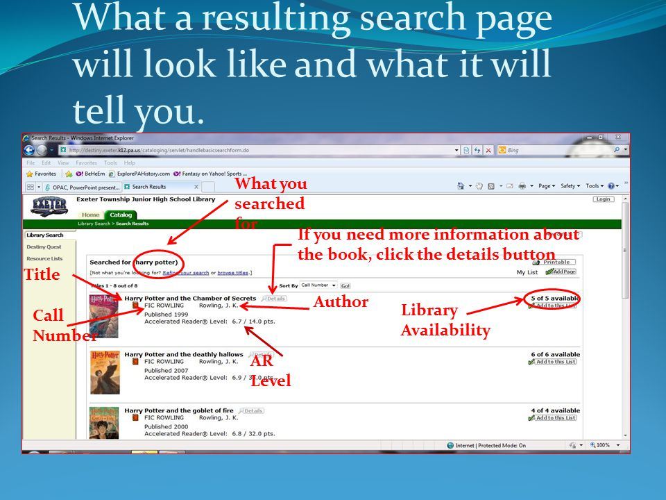 What a resulting search page will look like and what it will tell you. What you searched for Title Call Number Author AR Level Library Availability If