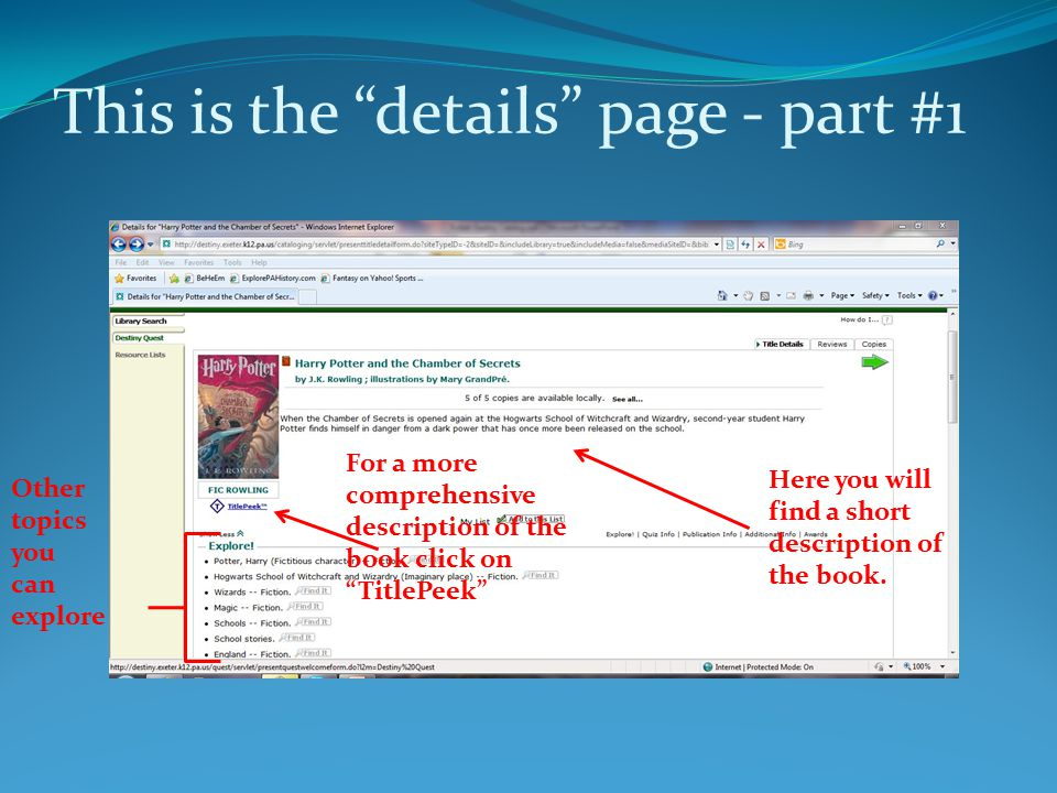 """This is the """"details"""" page - part #1 Here you will find a short description of the book. For a more comprehensive description of the book click on """"Ti"""