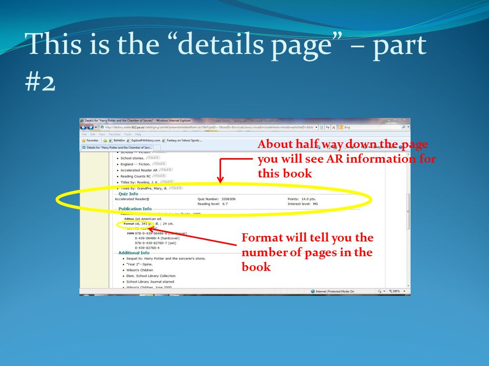 """This is the """"details page"""" – part #2 About half way down the page you will see AR information for this book Format will tell you the number of pages i"""