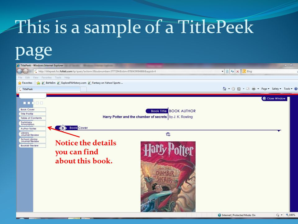 This is a sample of a TitlePeek page Notice the details you can find about this book.