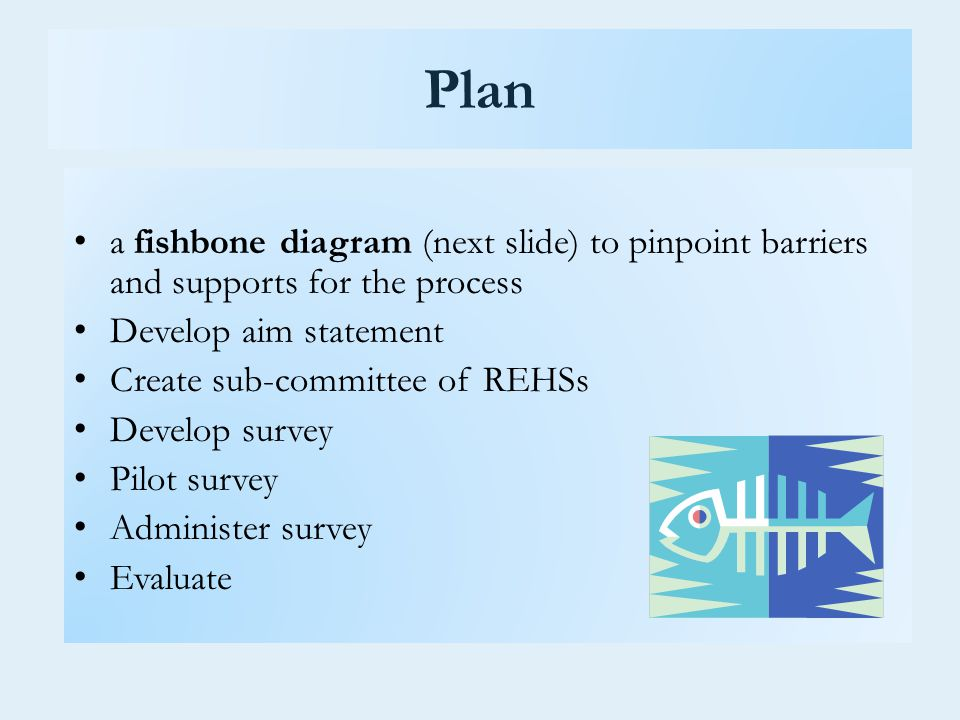 Plan a fishbone diagram (next slide) to pinpoint barriers and supports for the process Develop aim statement Create sub-committee of REHSs Develop survey Pilot survey Administer survey Evaluate