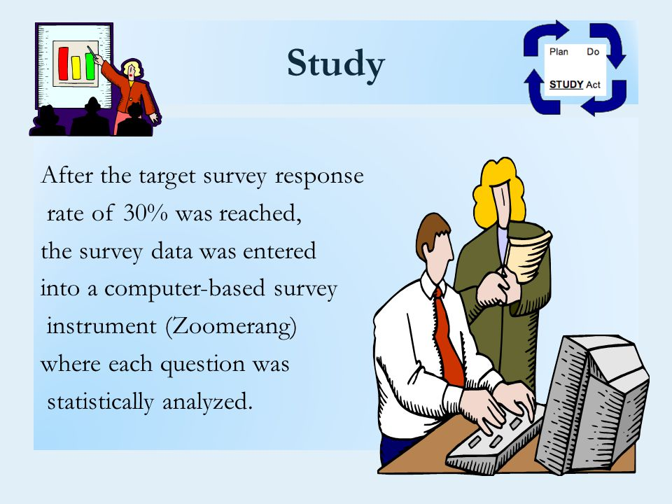 Study After the target survey response rate of 30% was reached, the survey data was entered into a computer-based survey instrument (Zoomerang) where each question was statistically analyzed.