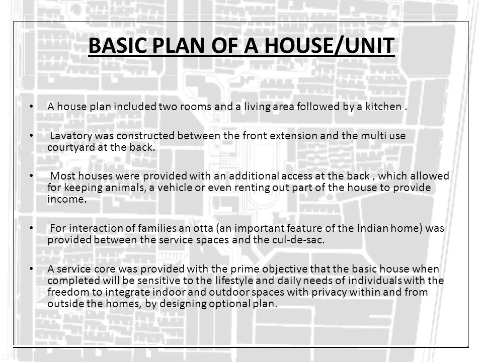 BASIC PLAN OF A HOUSE/UNIT A house plan included two rooms and a living area followed by a kitchen. Lavatory was constructed between the front extensi