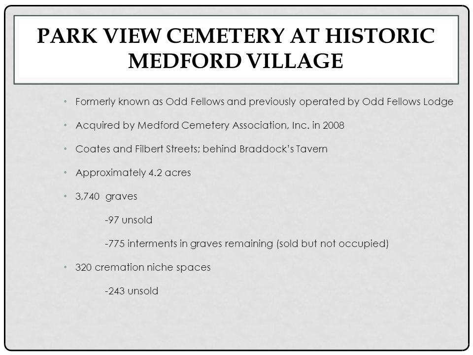PARK VIEW CEMETERY AT HISTORIC MEDFORD VILLAGE Formerly known as Odd Fellows and previously operated by Odd Fellows Lodge Acquired by Medford Cemetery Association, Inc.