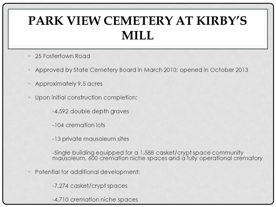 PARK VIEW CEMETERY AT KIRBY'S MILL