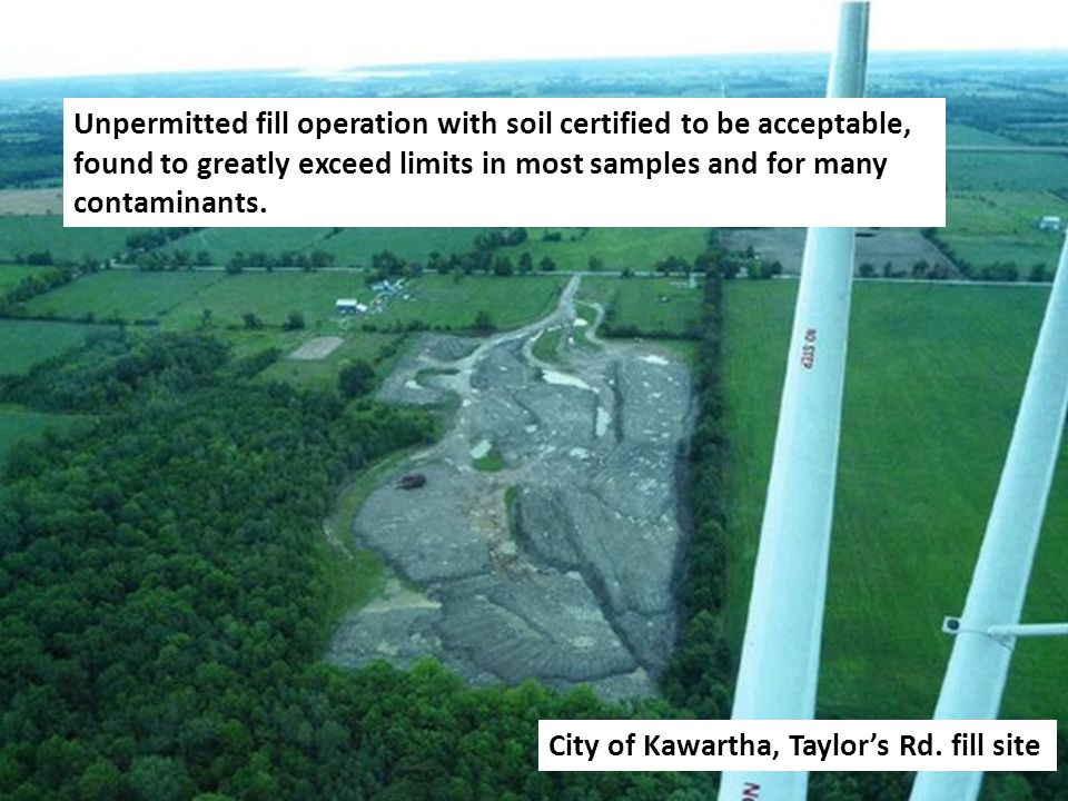 Photo taken from May 15, 2012 MOE Memorandum Assessment of Fill Material from Sheep Farm in Bailieboro Ontario Independent testing revealed exceedances in heavy metal concentrations that are toxic to livestock.