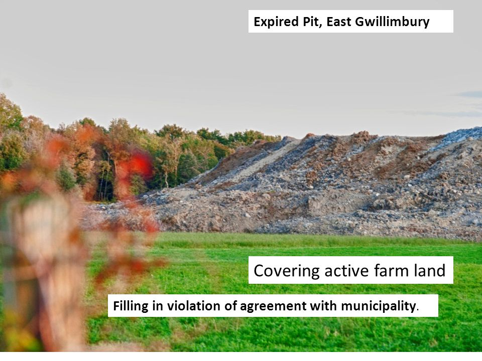 Expired Pit, East Gwillimbury Filling in violation of agreement with municipality. Covering active farm land