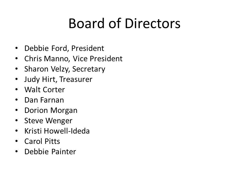 Board of Directors Debbie Ford, President Chris Manno, Vice President Sharon Velzy, Secretary Judy Hirt, Treasurer Walt Corter Dan Farnan Dorion Morga