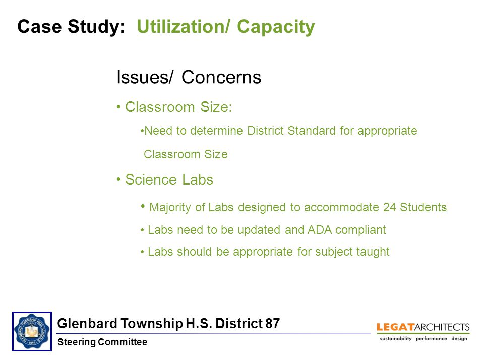 Glenbard Township H.S. District 87 Steering Committee Case Study: Utilization/ Capacity Issues/ Concerns Classroom Size: Need to determine District St