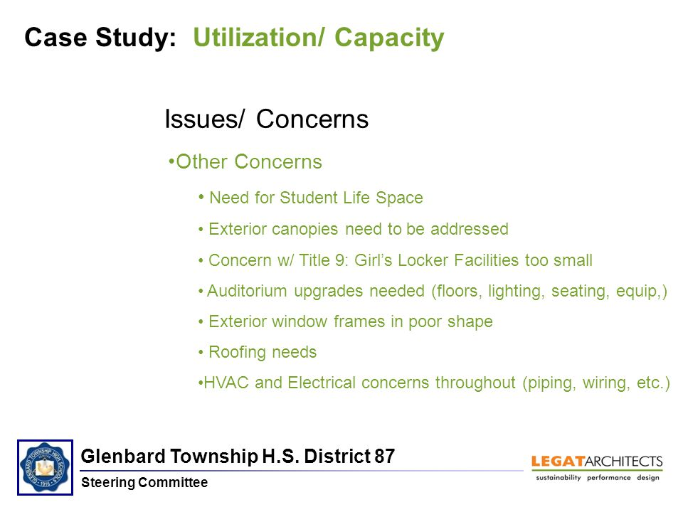 Glenbard Township H.S. District 87 Steering Committee Issues/ Concerns Other Concerns Need for Student Life Space Exterior canopies need to be address