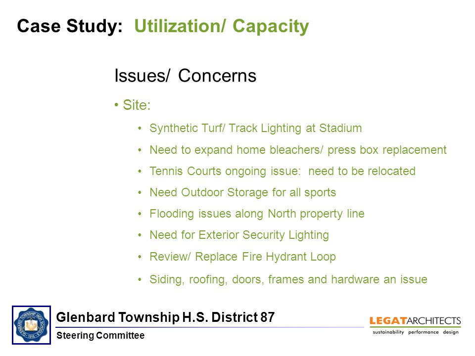 Glenbard Township H.S. District 87 Steering Committee Case Study: Utilization/ Capacity Issues/ Concerns Site: Synthetic Turf/ Track Lighting at Stadi