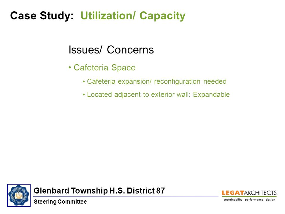 Glenbard Township H.S. District 87 Steering Committee Issues/ Concerns Cafeteria Space Cafeteria expansion/ reconfiguration needed Located adjacent to