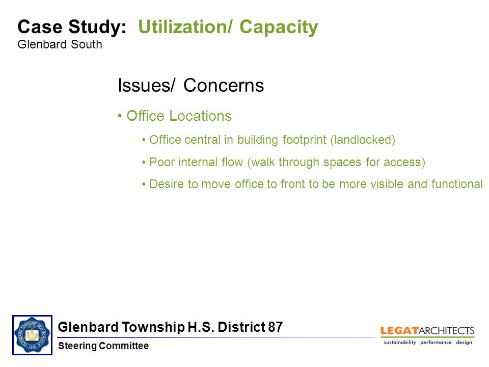 Glenbard Township H.S. District 87 Steering Committee Glenbard South Issues/ Concerns Office Locations Office central in building footprint (landlocke