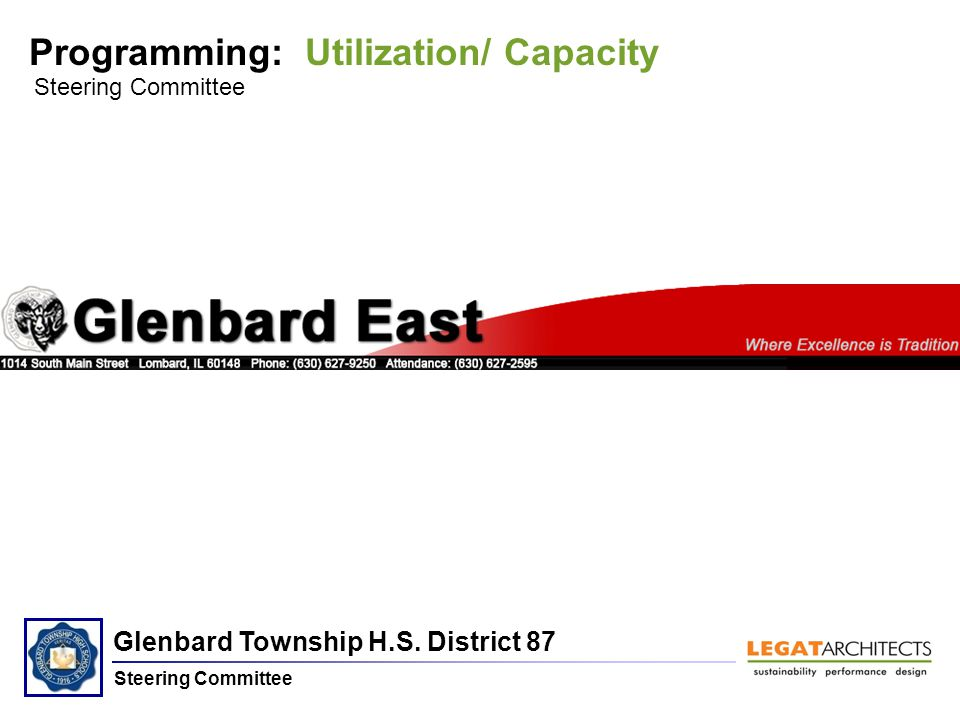 Glenbard Township H.S. District 87 Steering Committee Programming: Utilization/ Capacity Steering Committee Glenbard East H.S.