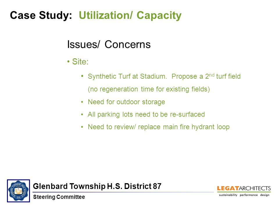 Glenbard Township H.S. District 87 Steering Committee Case Study: Utilization/ Capacity Issues/ Concerns Site: Synthetic Turf at Stadium. Propose a 2