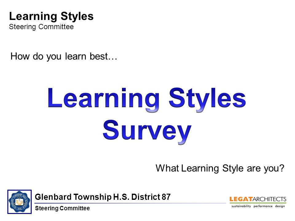 Glenbard Township H.S. District 87 Steering Committee Learning Styles Steering Committee How do you learn best… What Learning Style are you?