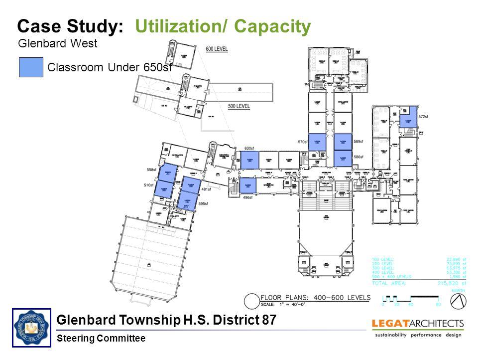 Glenbard Township H.S. District 87 Steering Committee Glenbard West Case Study: Utilization/ Capacity Classroom Under 650sf